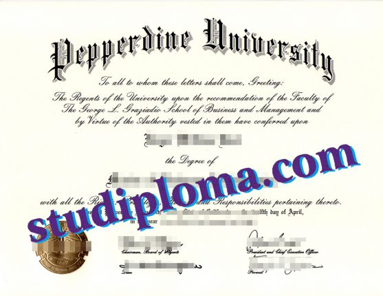fake Pepperdine University certificate
