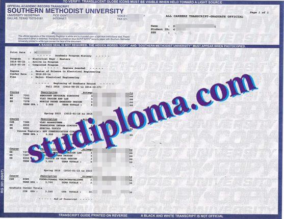 fake Southern Methodist University transcript