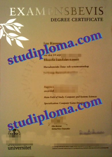fake Stockholm University diploma
