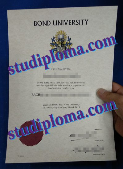 Bond University degree certificate