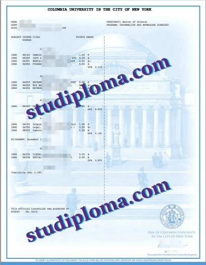Columbia University transcript