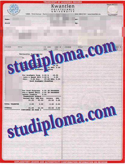 Kwantlen Polytechnic University fake transcript
