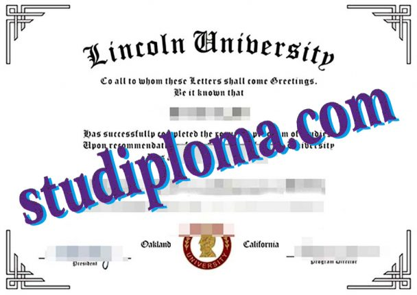 Lincoln University degree certificate