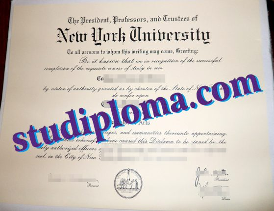 New York University degree certificate
