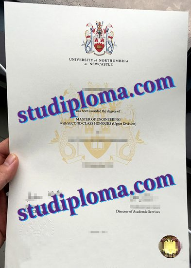 Northumbria University certificate