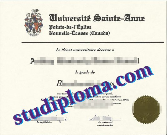 Université Sainte-Anne diploma