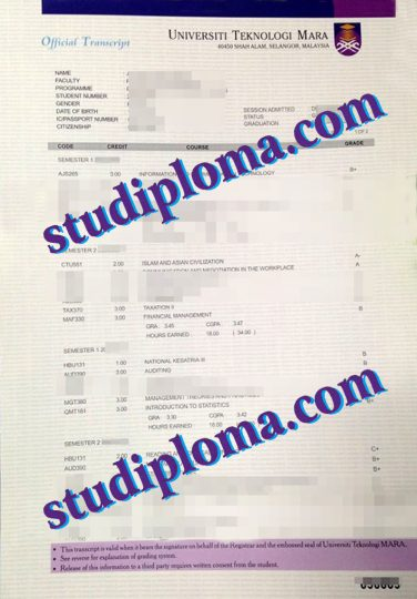 buy Universiti Teknologi MARA transcript