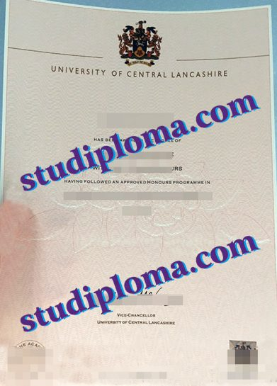 fake University of Central Lancashire diploma