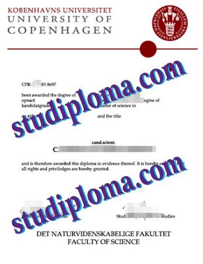 University of Copenhagen diploma