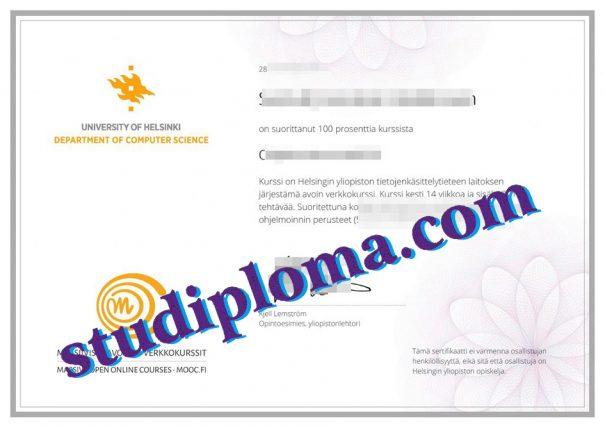 fake University of Helsinki diploma