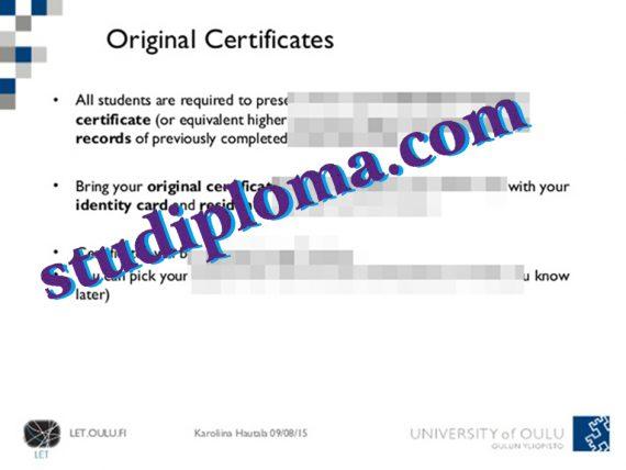 fake University of Oulu diploma