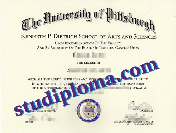 fake University of Pittsburgh diploma