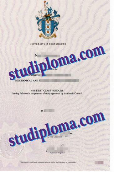 buy University of Portsmouth diploma