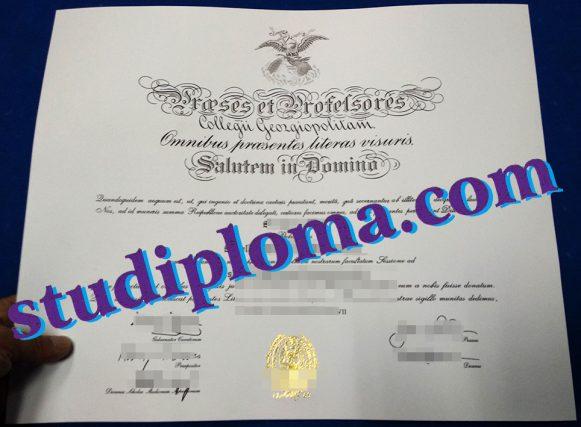 fake Georgetown University diploma