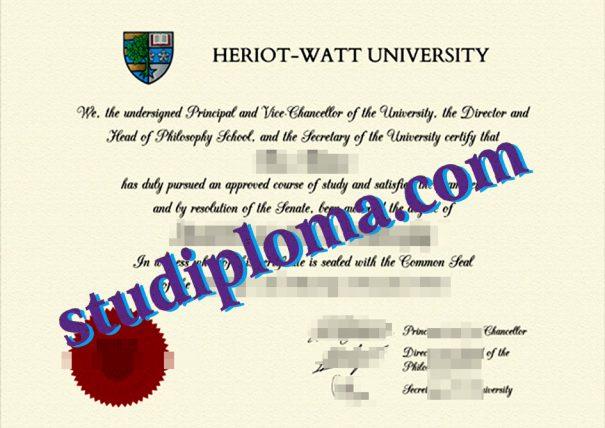 fake Heriot-Watt University diploma