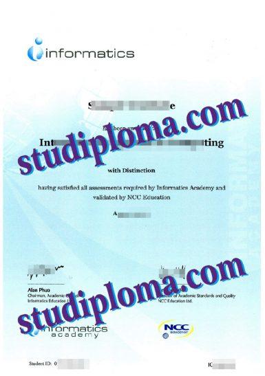 fake Informatics Academy diploma