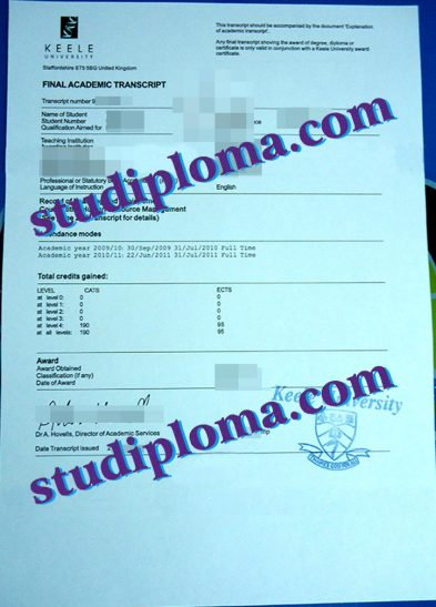 buy Keele University fake transcript