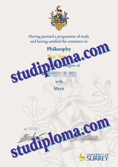 fake University of Surrey diploma