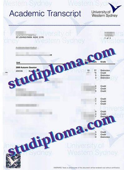 University of Western Sydney fake transcript