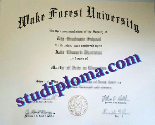 fake Wake Forest University diploma
