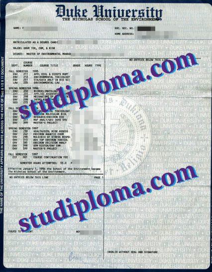 fake Duke University transcript
