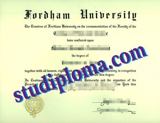 fake Fordham University diploma