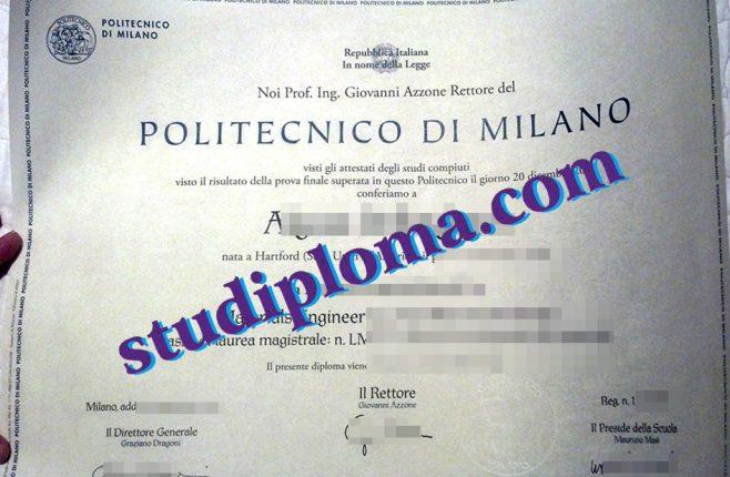 fake Politecnico di Milano diploma