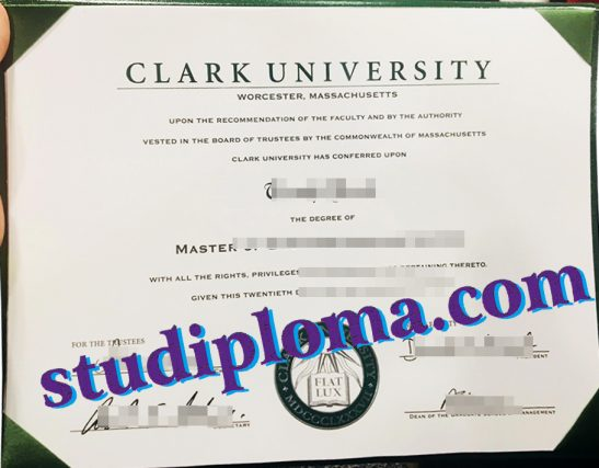 Clark University degree certificate