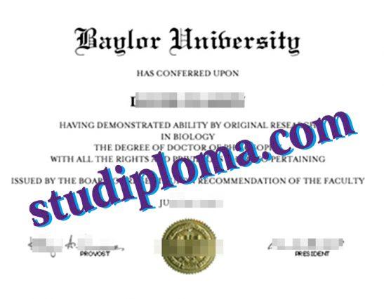 Baylor University certificate