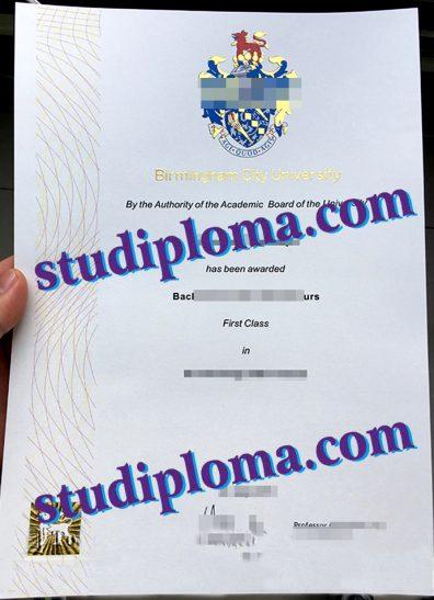 fake Birmingham City University diploma