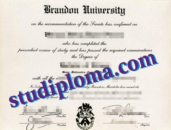Brandon University diploma