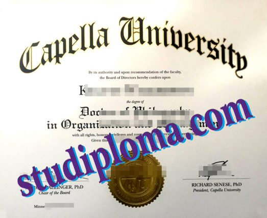 Capella University degree certificate