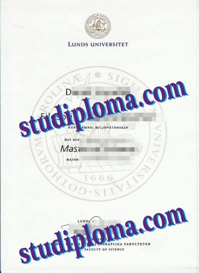 Lund University degree certificate