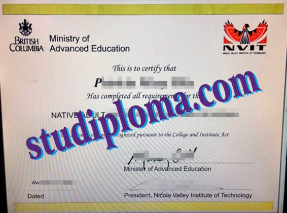 buy Nicola Valley Institute of Technology degree