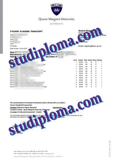 buy Queen Margaret University transcript