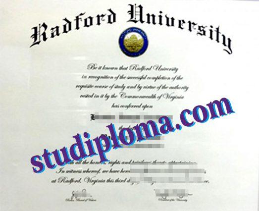 Radford University diploma