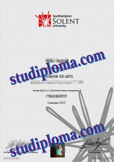 fake Southampton Solent University diploma