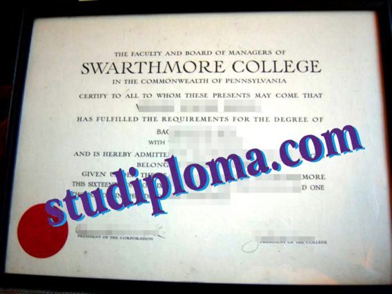Swarthmore College certificate