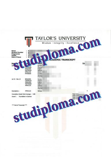 buy Taylor's University transcript
