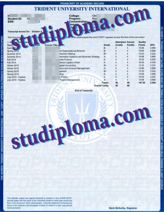 buy Trident University International transcript