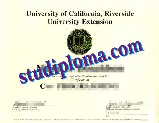 fake University of California, Riverside degree certificate