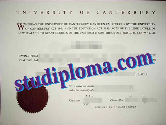 University of Canterbury degree certificate