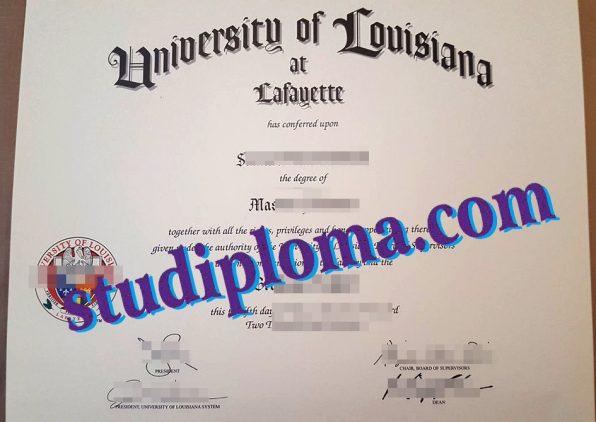 fake University of Louisiana at Lafayette diploma