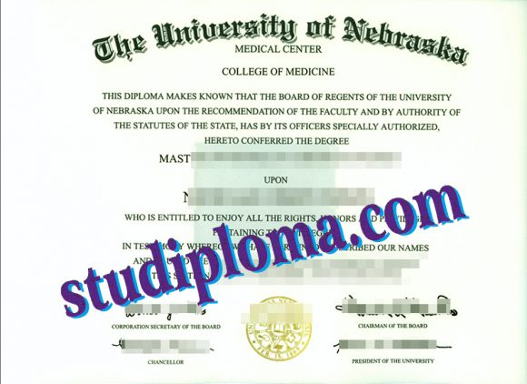 University of Nebraska Lincoln degree certificate