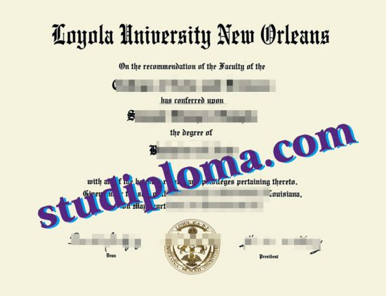fake University of New Orleans diploma