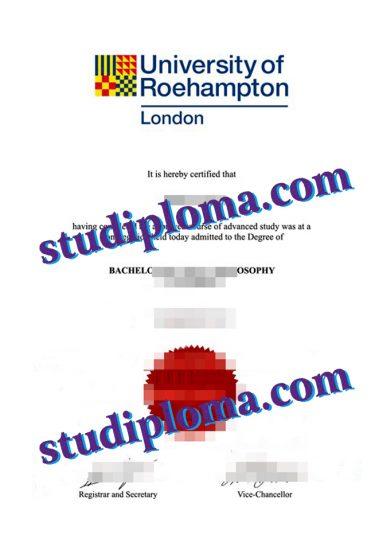 fake University of Roehampton diploma