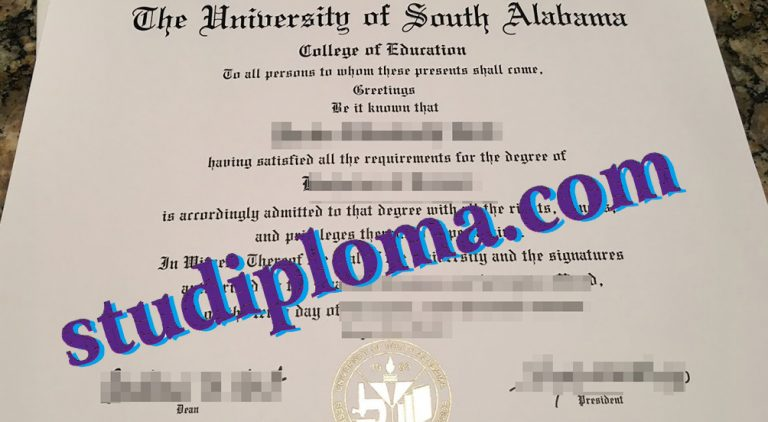 fake University of South Alabama diploma