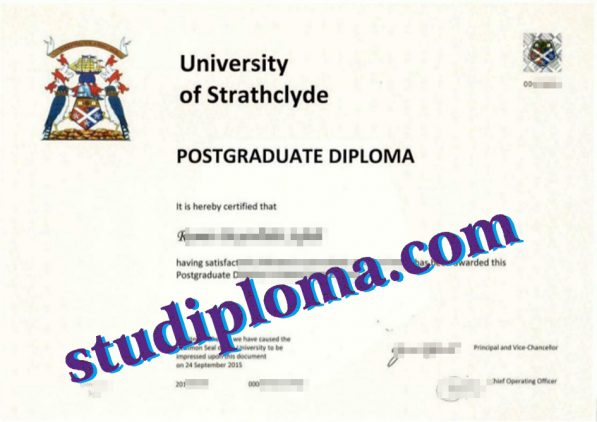 fake University of Strathclyde diploma