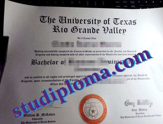 University of Texas Rio Grande Valley degree certificate