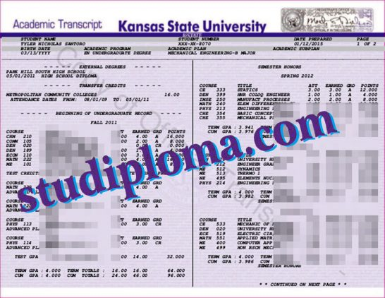 University of Kansas transcript